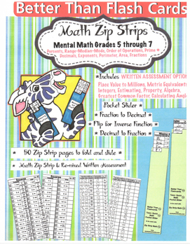Free Zip Strip Math Grades 5 thru 7 with Written Assessmen