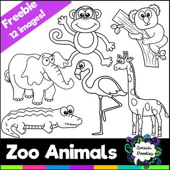 Free Zoo Animals Mini Bundle - 12 images! For Personal and Commercial use