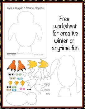 Free bilingual (Spanish) printable worksheet for winter creative fun