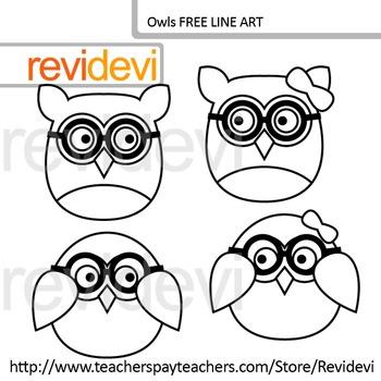 Free clip art - Owl line art