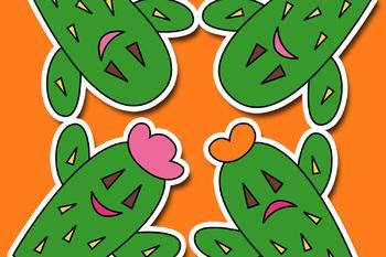 Free clipart / happy sad cactus plant, cacti clip art