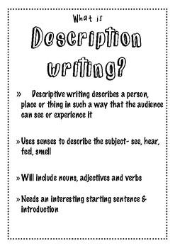 Free descriptive writing bundle