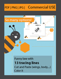 Free download!! Funny tracing lines practice (with cute little bee) + 2 bonuses