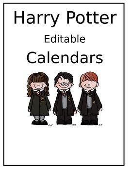 Free editable Harry Potter Calendars