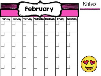 Free emoji themed calendar