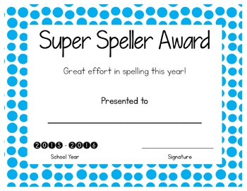 Free end of Year Spelling Award!