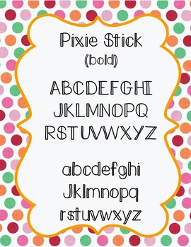 Free font download for personal and commercial use- Pixie Stick
