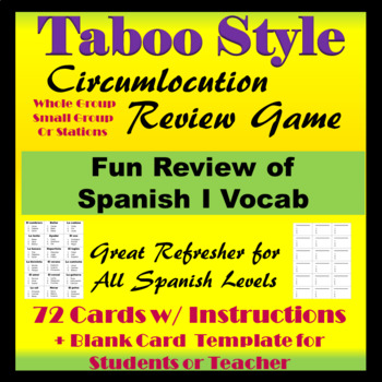 Spanish I Review Game Taboo Style Circumlocution By Sol Garden Tpt