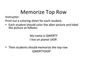 Free keyboarding top row coloring sheet printable for beginning typing