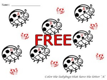 Free ladybug coloring worksheet Pre-K