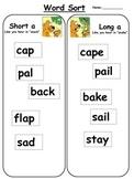 Short a vs. long a word sort: Free literacy center activity