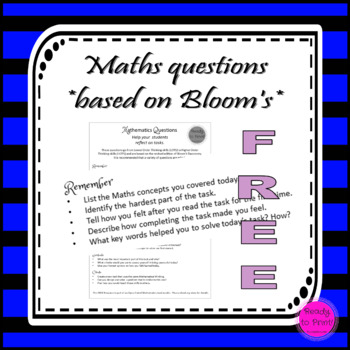 Free maths questions based on Bloom's Taxonomy