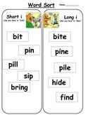 Free literacy center activity: Short i vs. long i word sort