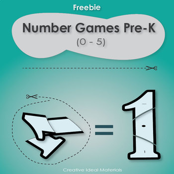 Free number games pre-k (0-5) cut and connect puzzle for number recognition