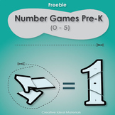 Free number games pre-k (0-5) cut and connect puzzle for n