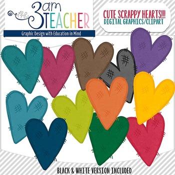 Scrappy Hearts Clip Art