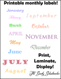 Printable monthly labels! Use for bulletin boards, calenda