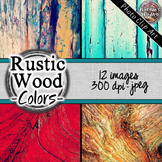 Photo Clip Art (12 Images/4 Sizes) - Colorful Rustic Wood