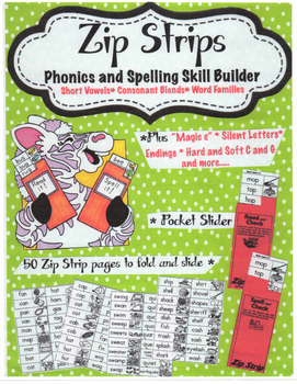 Free sample Zip Strip Phonics and Spelling Skill Builders Short Vowels