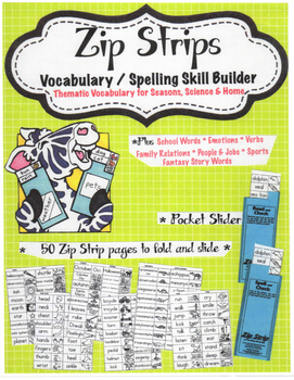 Free sample Zip Strip Vocabulary and Spelling Skill Builders