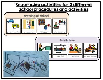 Free school procedure sequencing activities. Autism. File folder activities