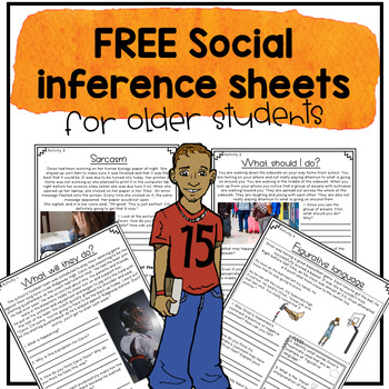 Free social inference worksheets for older students and teens.