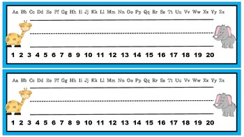 Free student desk plates with manuscript alphabet and numb