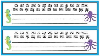 Free student desk tags with cursive alphabet