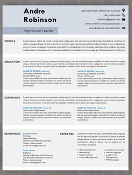 Free Teacher Resume Template Bundle With Cover Letter In Editable