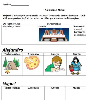 Free time activities Information Gap with Frequency (Spanish)