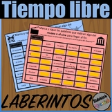 Free time (museum, concert, movies, party) Vocabulary Mazes in Spanish