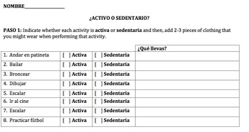 Free time vocabulary - Clothing Vocabulary - Information gap (Spanish)