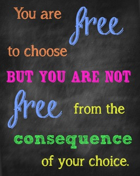 Free To Choose Consequences Poster Chalkboard Style By Hullabaloo