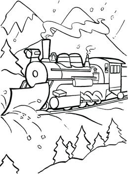 Free train with snowplow color-in printable