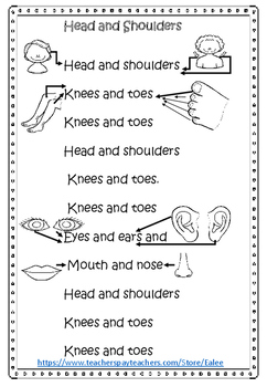 Free  words for Head and Shoulders song with illustrations