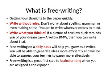 Free-writing prompts/lecture 56 topics --College Composition/grades 7-12