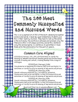 Free200 Spelling Most Commo... by Pam DAlessandro | Teachers Pay ...