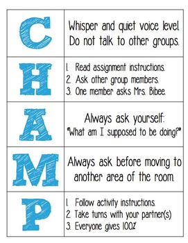 champs classroom management plan template Free!CHAMPS for Music Classroom Management by Music with Sara Bibee