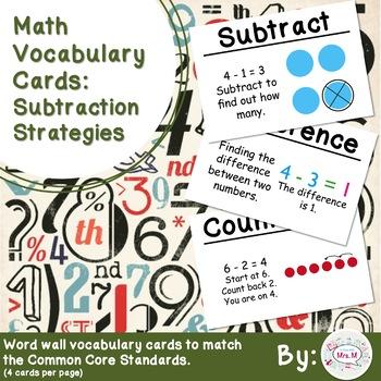 Freebie!! 1st Grade Math Vocabulary Cards: Subtraction Strategies