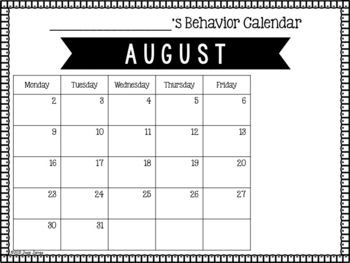 Freebie 2017-2018 Editable Behavior Calendar
