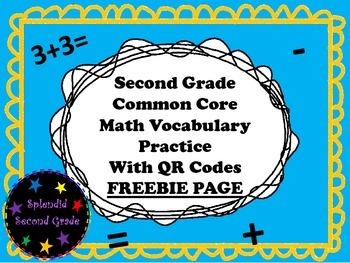 Freebie 2nd Grade Math Common Core Vocabulary Practice wit
