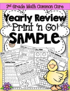 Freebie!! 2nd Grade Yearly Review Math Print N' Go Sample