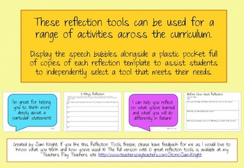 Freebie 3 Reflection Tools with prompt questions
