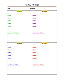 Freebie. 4 Block Chart for Anecdotal Notes, Record Keeping