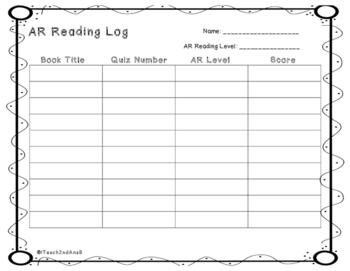 Freebie AR Reading Log
