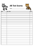 Freebie AR Reading Test Score Recording Sheet