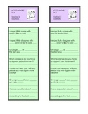 Freebie 'Accountable Talk' Bookmark Discussion Stems PRINTABLE CCSS