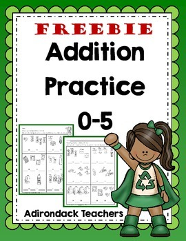 Freebie Addition Practice 0-5 Earth Day theme