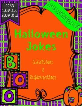 Freebie!! Addition & Subtraction {Halloween Themed Jokes}