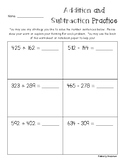 Three Digit Addition / Subtraction Practice Sheets (larger)
